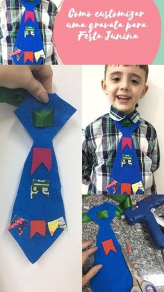 Como customizar uma gravata para Festa Junina Kids Rugs, Christmas Ornaments, Holiday Decor, Diy, Yuri, Halloween, Hillbilly Party, Masha And The Bear, Ethnic Dress