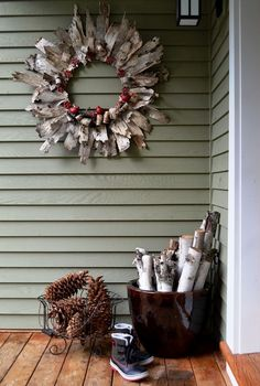 Cozy winter decor ideas.  Love decorating with Birch logs! Birch bark Wreath: