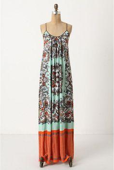 Orange and turquoise maxi dress