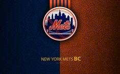 Download wallpapers New York Mets, 4K, American baseball club, leather texture, logo, MLB, New York, USA, Major League Baseball, emblem