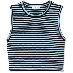 A.L.C. Dan Striped Top (6.915 UYU) ❤ liked on Polyvore featuring tops, shirts, crop tops, tank tops, blue, cropped tops, blue sleeveless top, shirt crop top, blue striped shirt and stripe crop top