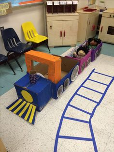 Train made out of card board boxes in my dramatic play center  #train
