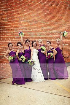 Bridesmaids will be wearing Amsale dresses in eggplant