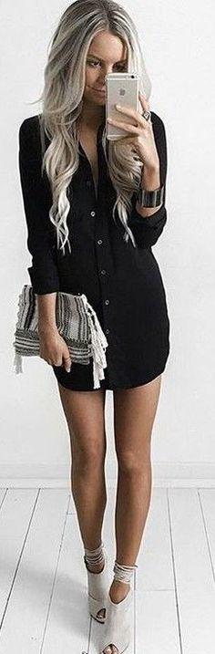 Black Shirt Dress Source