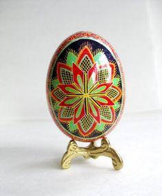 red and green Pysanka, traditional design, Ukrainian Easter egg, batik decorated chicken egg shell. $39.95, via Etsy.