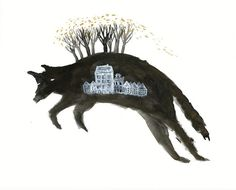SALE Leaping Wolf with Houses Archival Art Print by benconservato