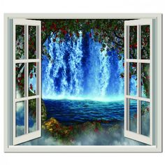 Waterfall Hole in The Wall 3D Effect Wall Sticker Art Decal Mural 1345