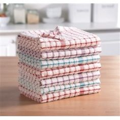 Pack Of 7 Monocheck Terry Tea Towels