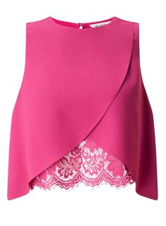 Pink Lace Insert Shell Top Pretty in pink! This lace insert shell is the perfect addition to your wardrobe. Polye - Sleeveless Tanks - Ideas of Sleeveless Tanks Pink Lace Tops, Lacy Tops, Lace Crop Tops, Cropped Tops, Lace Tank, Miss Selfridge Tops, Mode Kimono, Shirt Bluse, Shell Tops