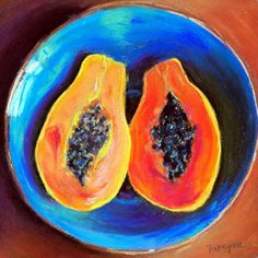 Papaya+-+Matted+and+Framed+Original+Pastel+Still+Life+Tropical+Fruit+Orange+and+Teal,+painting+by+artist+Takeyce+Walter