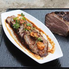 Beef Brisket 24 Hour Sousvide on Rice Cooker & Ziplock Untill Tender, Served with Salsa Romesco Roast Chili Pepper, Pine Nuts & Garlic Pesto