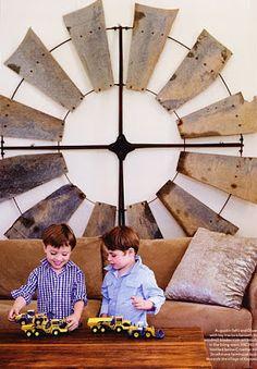 Brabourne Farm: It's a Work of Art! Old wind mill as wall decor. #ModernFarmhouse #WallDecor #WindMill