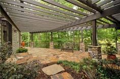 Large Pergola attached to House