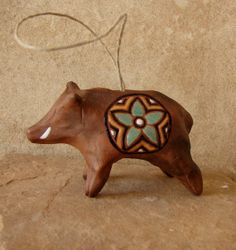 Handcrafted Ceramic Javelina Ornament- Navajo, Native American Art, Southwest