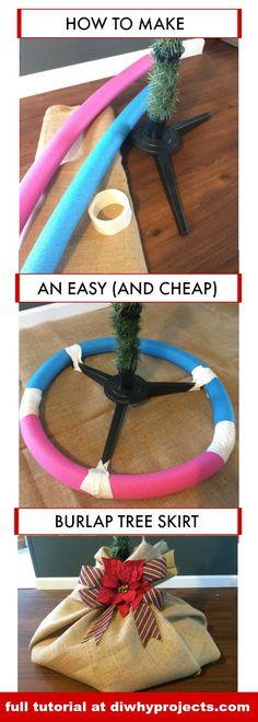 Amazingly Easy DIY Burlap Christmas Tree Skirt, Farmhouse Style, Rustic Christmas, Christmas Decor #christmasdecor #FarmhouseChristmas