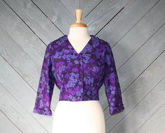 bright purple floral 1950s alix of miami cropped jacket!
