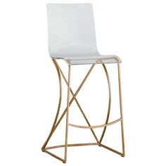 "The Gabby Furniture Johnson bar stool provides modern, trendy allure to kitchens. With an antique gold-finished metal base, this accent features a clear acrylic seat and intriguing details. 20.75""W x 19.6""D x 46""H. Seat: 29.25""H. Footrest: 11""H. Clear acrylic seat. Antique gold metal frame. Due to the handmade artistry of Gabby's collection, variation between individual products should be expected."