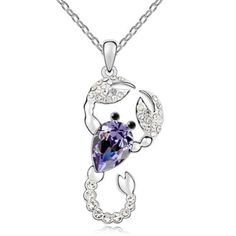 Latigerf Scorpion Pendant Necklace White Gold Plated Swarovski Elements Crystal Purple by Latigerf -- Awesome products selected by Anna Churchill