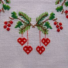 Vintage Linen Tablecloth Embroidered Cross Stitch by KerryCan, $35.00