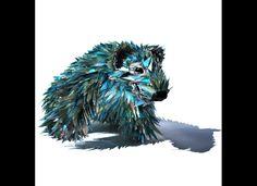 "Sean E Avery ""Bear"", wire mesh, CD shards, hot glue, silver paint"
