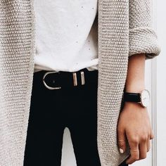 Beige cardigan over black and white.