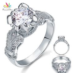 Peacock Star Vintage Victorian Style 2 Carat Created Diamond Solid 925 Sterling Silver Wedding Engagement Ring CFR8088