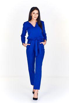 Dámský dlouhý elegantní overal, v pase na zavázání. Jumpsuit, Dresses, Fashion, Overalls, Vestidos, Moda, Monkeys, Fashion Styles, Jumpsuits