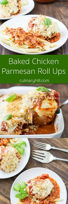 A cheesy filling is rolled into chicken and topped with sauce, more cheese, and crispy panko bread crumbs. Baked Chicken Parmesan has never been so easy!