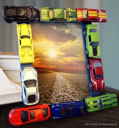 Make it, then display it! Personalize a picture frame with Hot Wheels cars for the ultimate little racer's bedroom!
