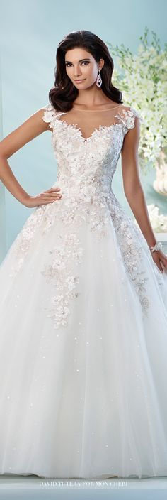 David Tutera for Mon Cheri Fall 2016 Collection - Style No. 216238 Jay - tulle and lace ball gown wedding dress