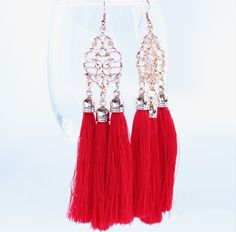 Dramatic Diva Red Tassel Earrings now Half Price Online at Uneak Boutique!