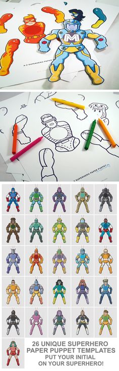 Create 26 personalized Superhero paper puppets. Great paper Craft for kids.