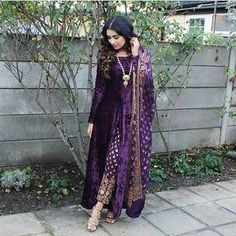 "823 Likes, 11 Comments - STYLE ON SET (@pakistanstyleonset) on Instagram: ""Swooning over this pretty purple velvet attire @ibreatheshoes #styleonset #styleinspiration"""