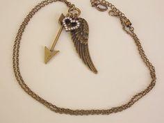 Cupid Necklace Rhinestone Heart Pendant Long by Petitedepot, $14.00
