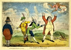 Late eighteenth century satirical print by James Gillray showing Britain regretting the loss of her American colonies, while France gloats and Spain blames the French for the failure to retake the Rock. Holland looks on impassively.