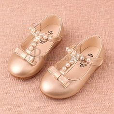 Gold / Sliver Pretty Pearl Wedding Flower Girl Shoes Flat Kids Party Shoes #Gold #Silver