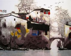 """Suzhou Watercolored Bridge #Beautiful #Handmade #Silk #Embroidery #Art #Etsy 87205 http://www.queensilkart.com/100-handmade-embroidery-framed-landscape-watercolored-suzhou-bridge-4050-5-87205/  Ancient houses in Suzhou's """"Old Town"""" district are quite singular. Whitewashed walls, grey tile roofs, brown timbers & a small pier. The canals are the streets, boats are the cars & the piers serve as kitchen annex, laundry & shopping center, vendors travel from house to house every day."""