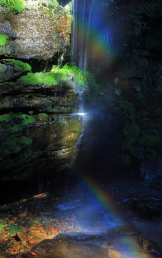 Rainbow Vell**  Perhaps a little man in a green suit will pop out by the rainbow falls and find his pot of gold.