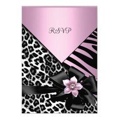 RSVP Pink Birthday Party Zebra Leopard Elegant Announcement