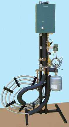 Fish Sweaters is a complete hot water heating system designed specifically for aquaponics and aquaculture. It heats the fish tank by circulating hot water through a stainless steel heat exhanger that sits in the fish tank or pond. The radiated heat from the heat exchanger heats the tank without needing to circulate the fish water directly, thus preventing the fouling of heating equipment from suspended solids in the fish tank.
