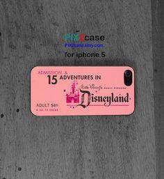 Pink Vintage Disneyland Ticket, iPhone 5 Case, Disney iphone case, iPhone Hard Case, iPhone Silicone Case, personalized iphone on Etsy, $9.99
