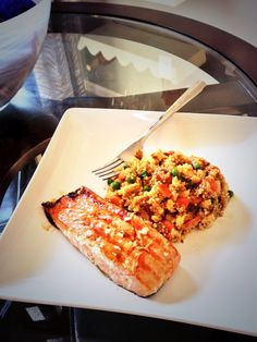 """Quinoa """"Fried Rice"""" and Asian Glazed, Wild, Grilled Salmon."""