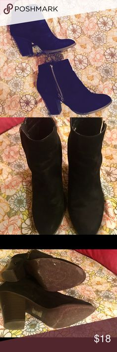 Black booties Charolette Russe side zip chunky heel black booties. They are SO CUTE but just too big for me 😫 lightly worn as seen in photos. Suede material. Size 9 Charlotte Russe Shoes Ankle Boots & Booties