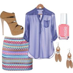 outfit: lilac-blue elbow-sleeved buttonup pocketed sheer blouse, multicoloured tribal-printed tight-fitting miniskirt, beige sandal platform heels, pink nailpolish, beige feather dangly earrings