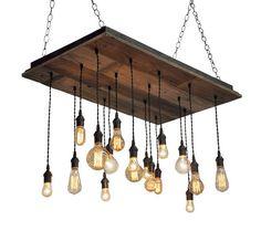 Reclaimed Wood Chandelier With Edison Bare Bulb Pendants Industrial Lightworks