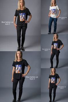 Limited edition hand finished T-shirts with a cat theme - fabric is 95% cotton and 5% spandex - in two styles and two colours