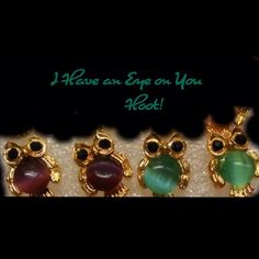 Two pair gold cabochon earrings. Variety of colors Gold faux cabochon owl earrings. Two pair in a variety of colors.  Share with a friend. Black eyes on a gold background makes the owl seem like it is looking directly at you. Jewelry Earrings
