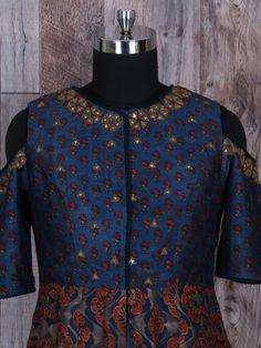Printed Navy Silk Long Anarkali Suit