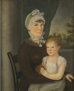 Portrait of Mrs. John Broadbent and Her Child, companion to Philadelphia Museum of Art, 1972-262-5, by Reuben Moulthrop, American, c. 1795, oil on canvas, Philadelphia Museum of Art, Accession#1972-262-6