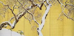 木島櫻谷「雪中梅花」6曲1双、左隻、大正7年(1918)Konoshima Oukoku Japan Watercolor, Japanese Screen, Japanese School, Plant Illustration, Japanese Painting, Painted Doors, Japan Art, Cover Photos, Painting & Drawing
